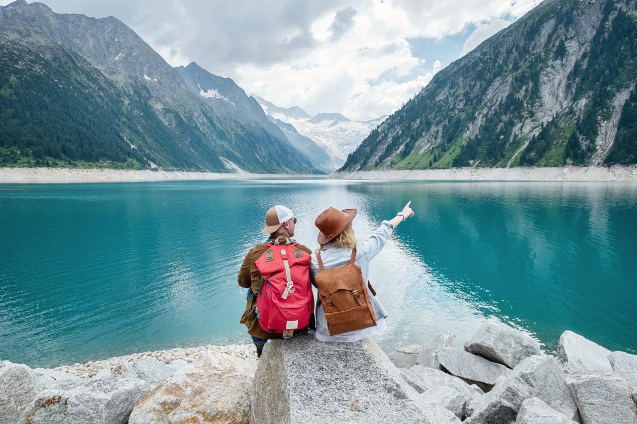 travel, couple, lake, chill
