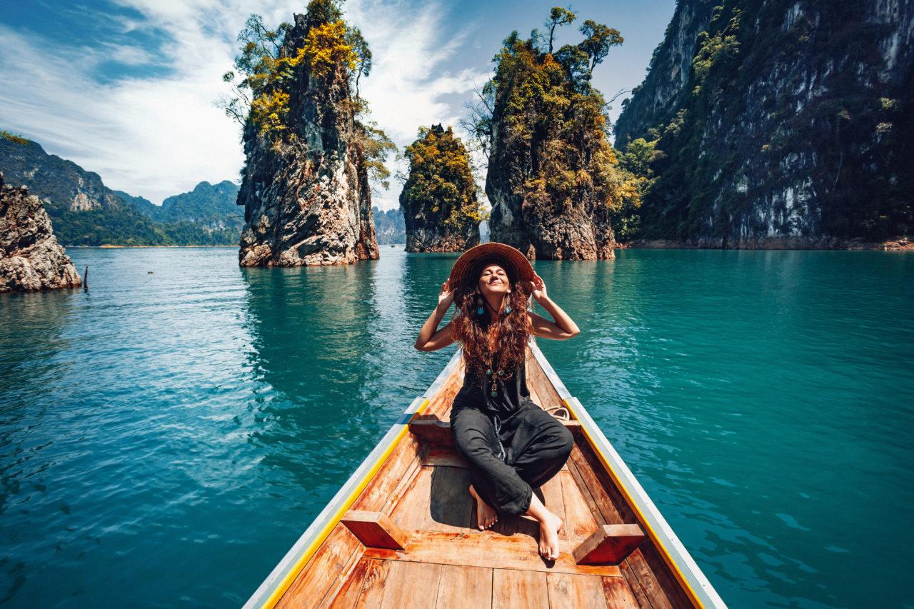 travel, boat, lake, woman, solo